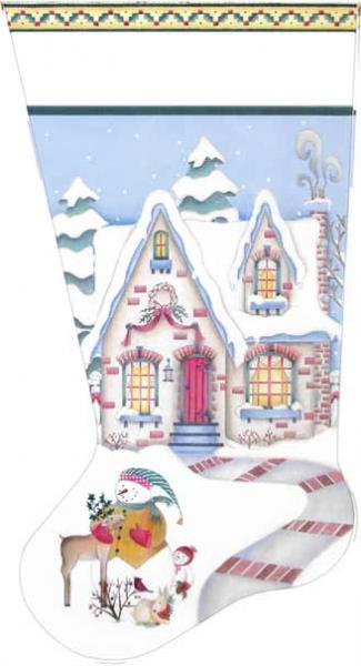 click here to view larger image of Cozy Winter Cottage Stocking (hand painted canvases)