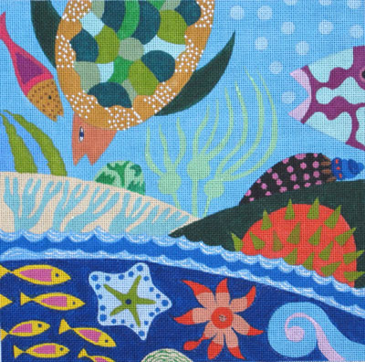 click here to view larger image of Seashells & Starfish (hand painted canvases)