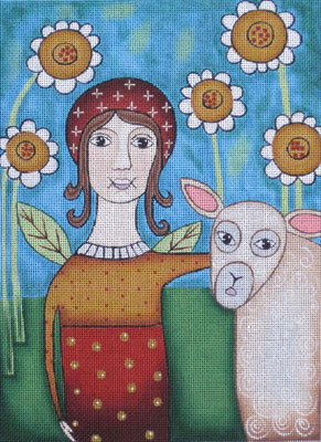 click here to view larger image of Angel & Sheep (hand painted canvases)