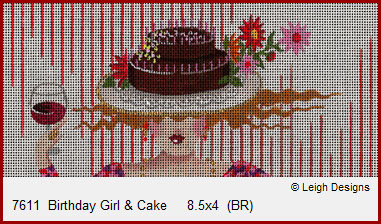 click here to view larger image of Birthday Girl & Cake (hand painted canvases)