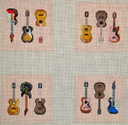 click here to view larger image of 4 Guitars Coaster  (hand painted canvases)