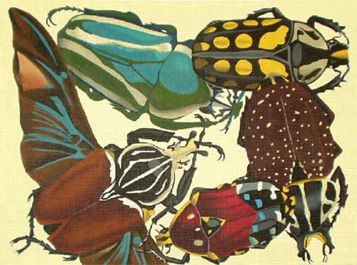 click here to view larger image of Burgundy Insects (hand painted canvases)