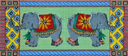 click here to view larger image of 2 Elephants and Borders (hand painted canvases)