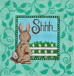 click here to view larger image of Shhh... With Bunny Sign  (hand painted canvases)