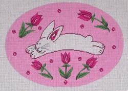click here to view larger image of Running Bunny on Pink (hand painted canvases)