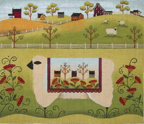click here to view larger image of Sheep Quilt (hand painted canvases)