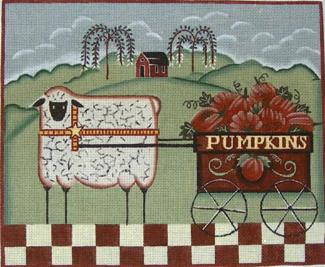 click here to view larger image of Sheep with Pumpkins (hand painted canvases)