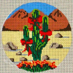 click here to view larger image of Cactus Round  Ornament (hand painted canvases)