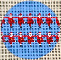 click here to view larger image of Dancing Santas Round Ornament (hand painted canvases)