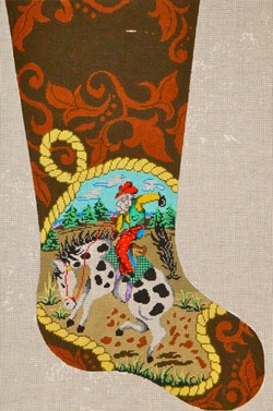 click here to view larger image of Bucking Bronco Santa (hand painted canvases)