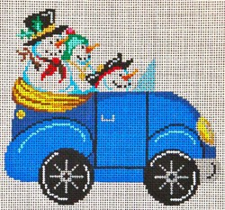 click here to view larger image of Blue  VW Bug With Snowmen (hand painted canvases)