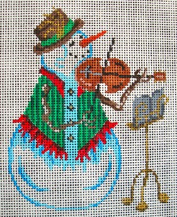 click here to view larger image of Snowman and Violin Ornament (hand painted canvases)