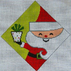 click here to view larger image of Retro Santa Ornament (hand painted canvases)