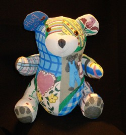 "click here to view larger image of ""Tommy"" 3-D Patchwork Teddy Bear (hand painted canvases)"