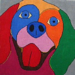 click here to view larger image of Spaniel on Gray - 18M (hand painted canvases)