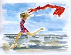 click here to view larger image of Beach Runner  (hand painted canvases)