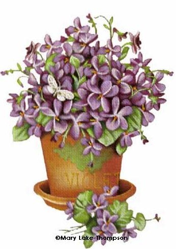 click here to view larger image of Floral - Violets (hand painted canvases)