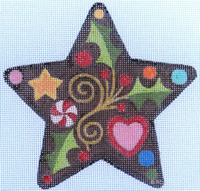 click here to view larger image of Gingerbread Star (hand painted canvases)