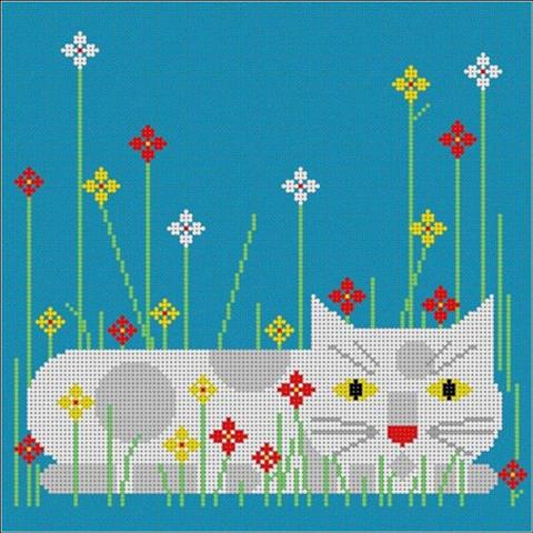 click here to view larger image of Calendar Cat  - Summer (18m) (hand painted canvases)