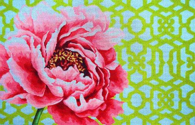 click here to view larger image of Peony/Trellis - 13ct (hand painted canvases)