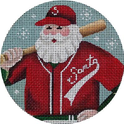 click here to view larger image of Baseball Santa Ornament (hand painted canvases)