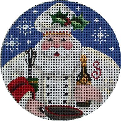 click here to view larger image of Chef Santa Ornament (hand painted canvases)