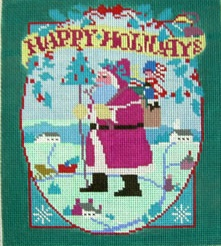 click here to view larger image of Happy Holidays (hand painted canvases)