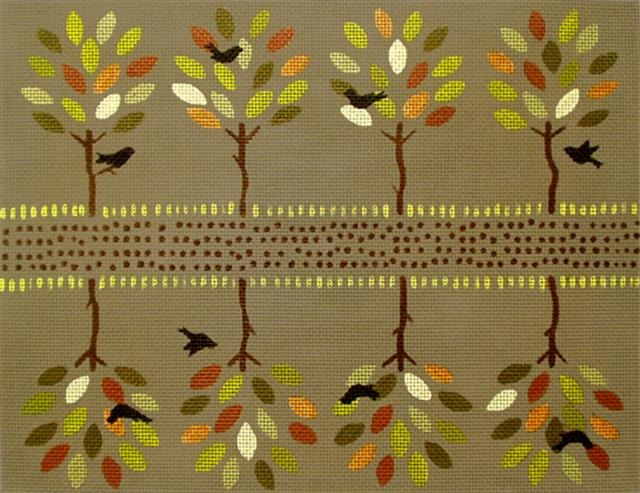 click here to view larger image of Autumn Trees Seasonal 2-Sided Clutch (hand painted canvases)