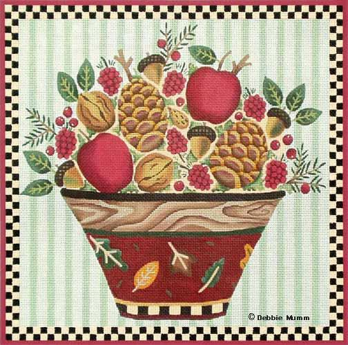 click here to view larger image of Apple & Pine Cone Bowl (hand painted canvases)