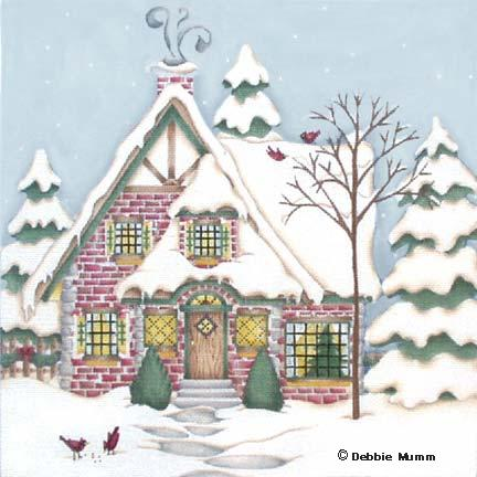 click here to view larger image of Conifer Cardinal Cottage (hand painted canvases)