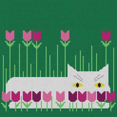 click here to view larger image of Calendar Cat  - Spring (18m) (hand painted canvases)