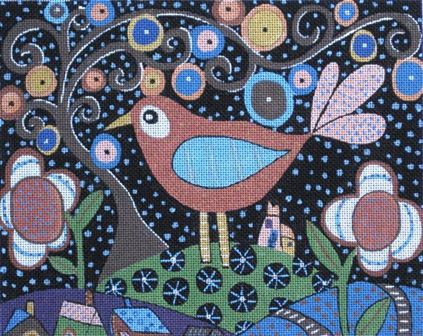 click here to view larger image of Folk Art Bird (hand painted canvases)