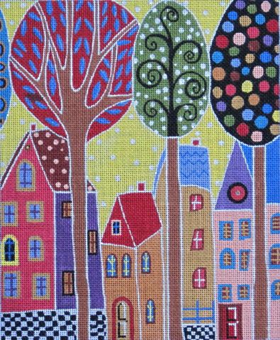 click here to view larger image of 4 Houses & Trees (hand painted canvases)