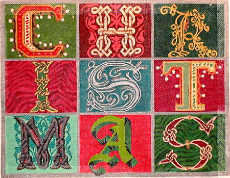 click here to view larger image of Christmas Blocks (hand painted canvases)