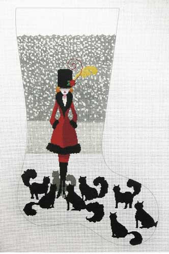 click here to view larger image of Cat Lady Stocking (hand painted canvases)