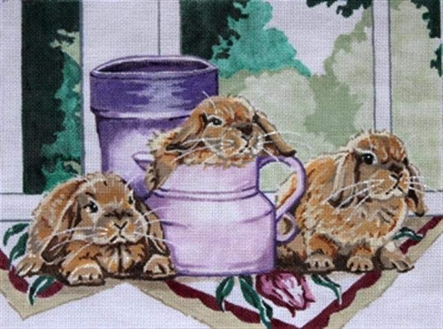 click here to view larger image of Bunnies at Windowsill (hand painted canvases)