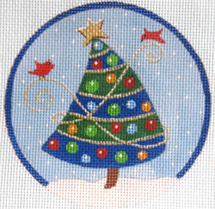 click here to view larger image of Blue Striped Christmas Tree (hand painted canvases)