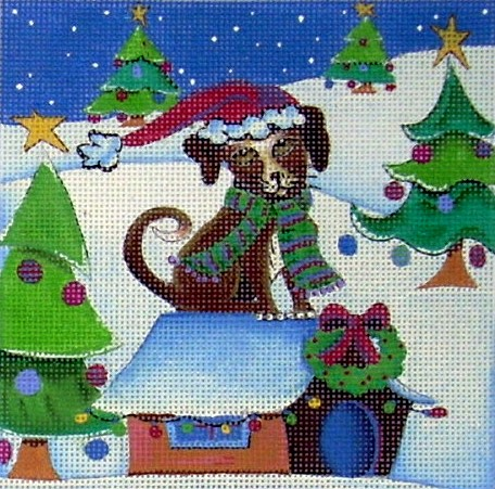 click here to view larger image of Brown Mutt Christmas Dog (hand painted canvases)