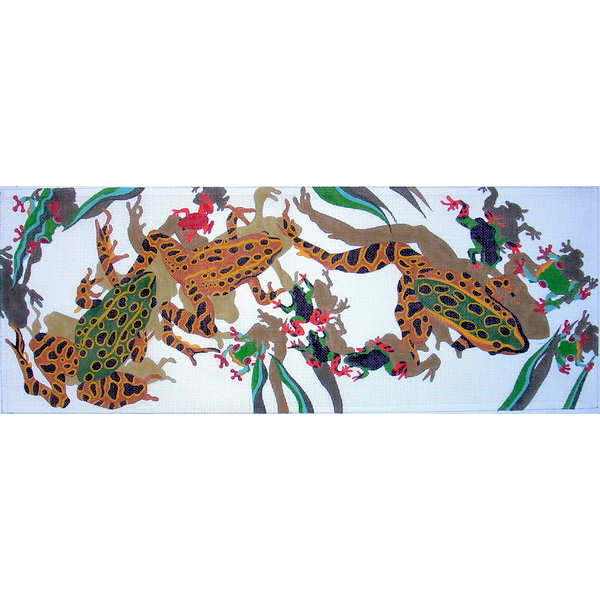 click here to view larger image of Frogs Wreath (hand painted canvases)