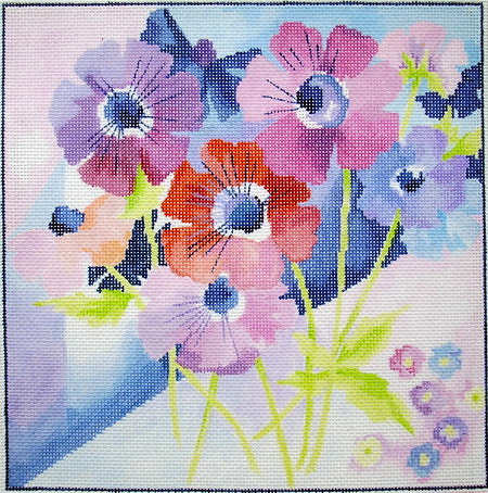 click here to view larger image of Anemone Watercolor (hand painted canvases)