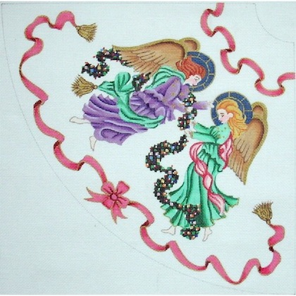click here to view larger image of Angel Tree Skirt Panel 2 (hand painted canvases)