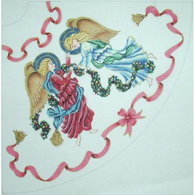 click here to view larger image of Angel Tree Skirt #1 Tabletop (hand painted canvases)