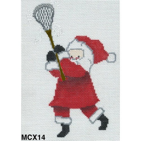click here to view larger image of Lacrosse Santa Ornament (hand painted canvases)