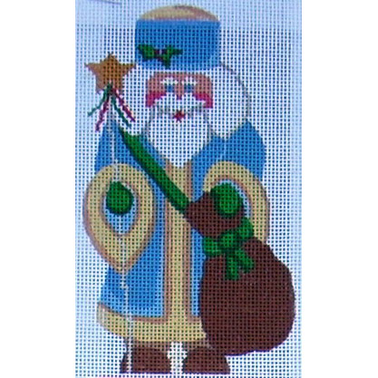 click here to view larger image of Blue Santa w/ Star (hand painted canvases)