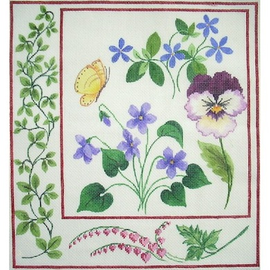 click here to view larger image of Botanical Pansy (hand painted canvases)