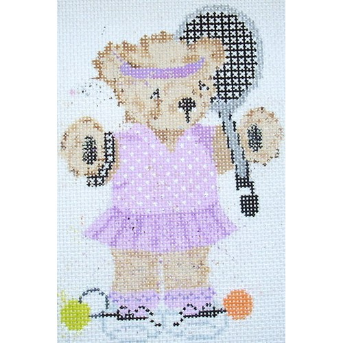 click here to view larger image of Tennis Girl Teddy Bear (hand painted canvases)