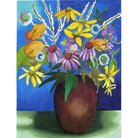 click here to view larger image of Brown Vase w/Daisies (hand painted canvases)