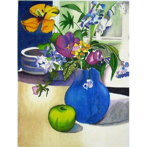 click here to view larger image of Blue Vase with Green Apple (hand painted canvases)