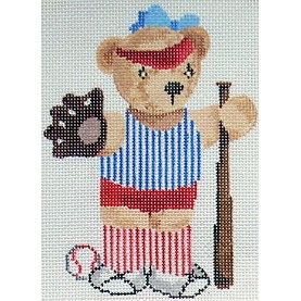 click here to view larger image of Baseball Teddy Bear (hand painted canvases)
