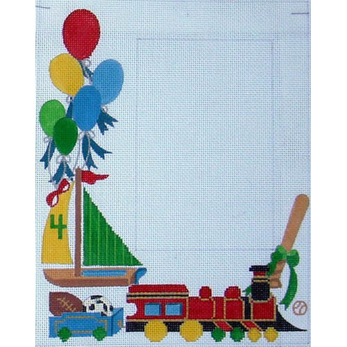 click here to view larger image of Boy's Train (3.5x5.5) (hand painted canvases)